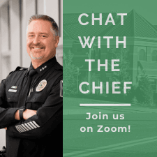 "Image shows Bothell Police Chief and text reading ""Chat with the Chief, join us on Zoom"""