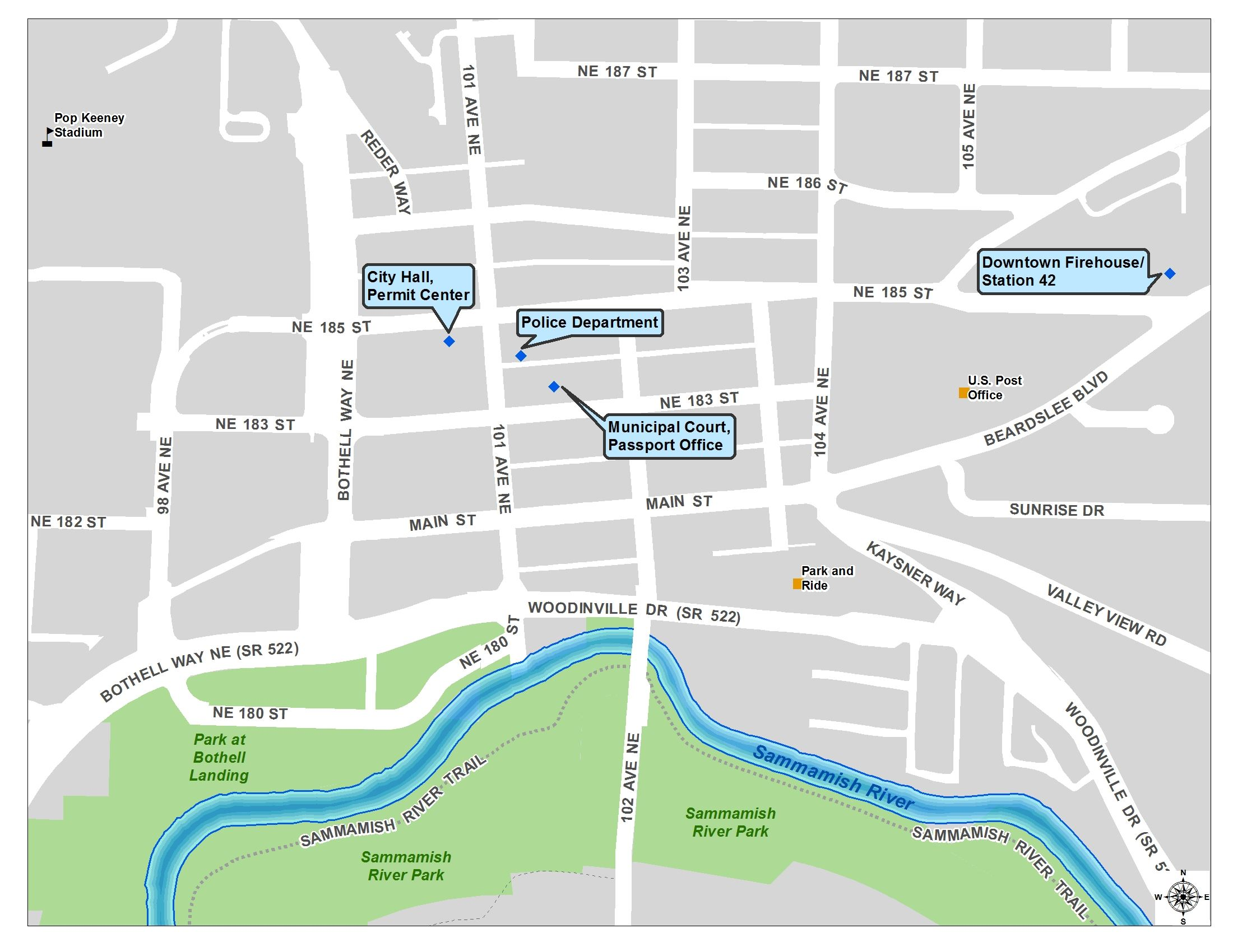View a map showing the government buildings in downtown Bothell.