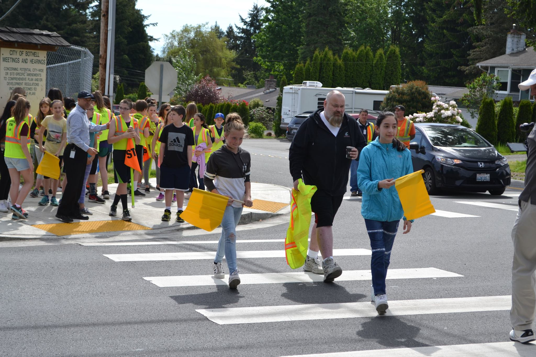 Pedestrian Flags at Frank Love Elementary (JPG)