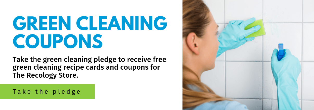 Picture of individual cleaning tile with info for green cleaning coupon