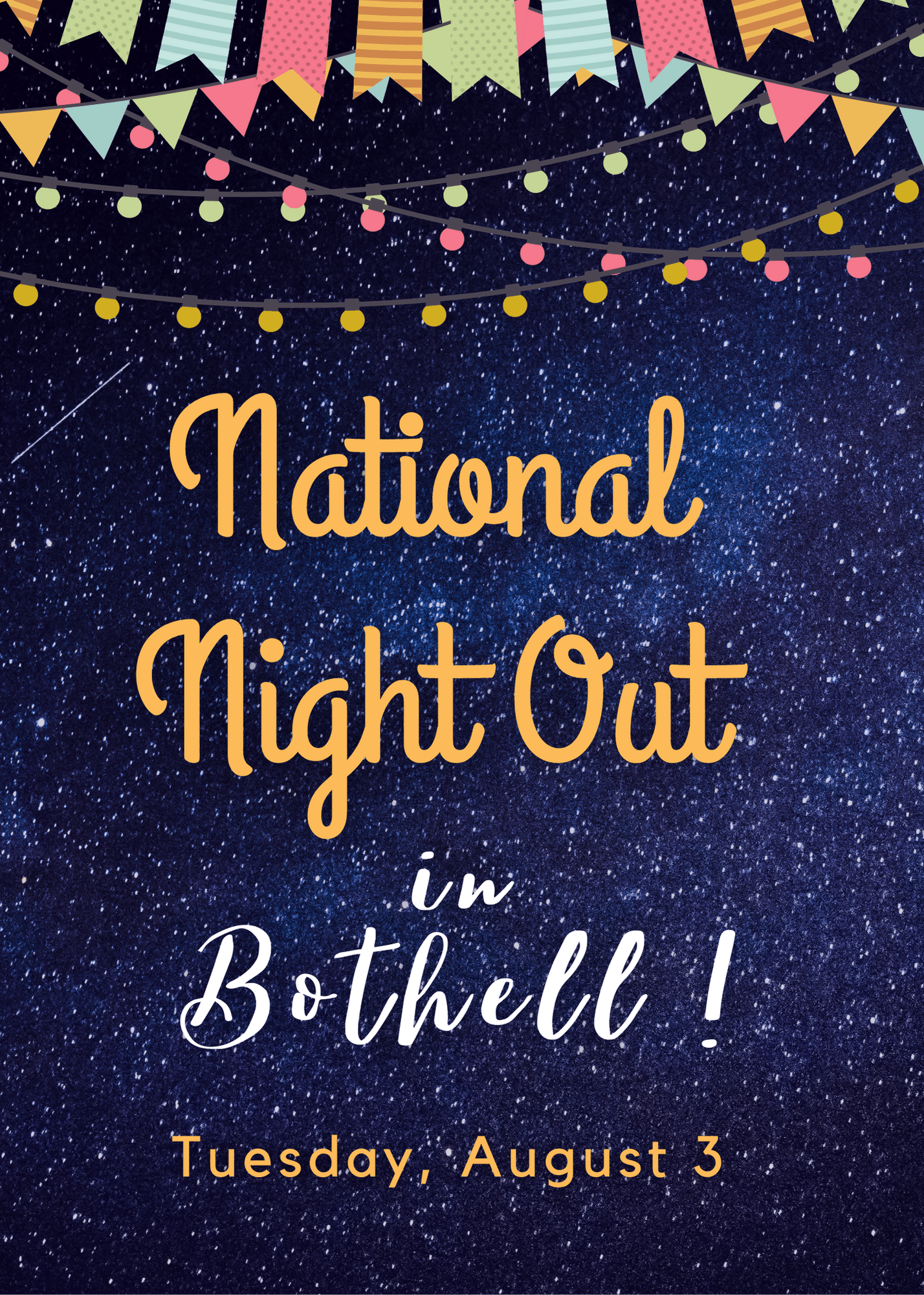 starry night sky with words National Night Out in Bothell: Tuesday, August 3